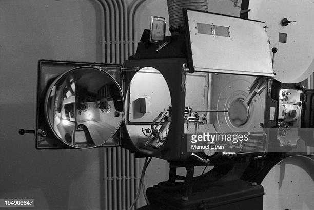 In May 1955 in a Parisian theater projection equipment for a demonstration of a technique Cinerama shots using three synchronized cameras working...