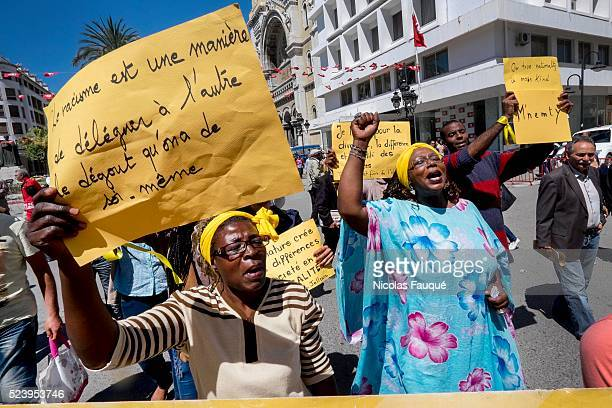 group of Tunisian blacks protesting against the racism Demonstrations of the UGGT and the extreme left to commemorate the Labor Day in Tunis of the...