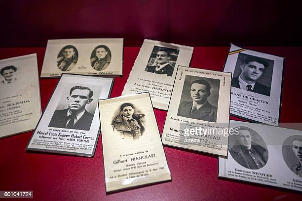 In memoriam cards / mortuary cards of executed Belgian Second World War Two resistance fighters, Belgium.