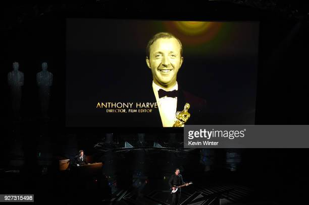 In Memoriam video tribute to director Anthony Harvey onstage during the 90th Annual Academy Awards at the Dolby Theatre at Hollywood Highland Center...