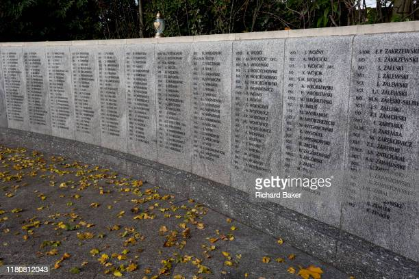 In memory of fallen WW2 Polish Air Force crews are the front gates of Polish War Memorial on 6th November 2019 in South Ruislip Northolt London...