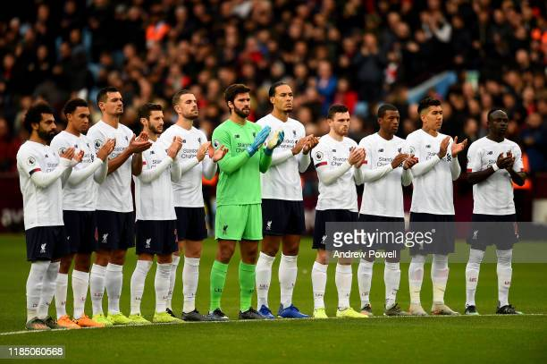 In Memory of the Fallen of Liverpool before the Premier League match between Aston Villa and Liverpool FC at Villa Park on November 02 2019 in...