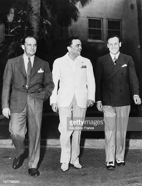 In Miami Beach Fbi Director Edgar Hoover With The Right And His Assistant Clyde Tolson Guy Hottel A GMan Has Left On October 30Th 1938
