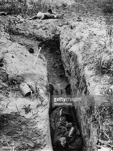 In most of the short bays leading up to Pear trench were to be found German dead. July, 1918. British Front - France '16 General Battle Somme.