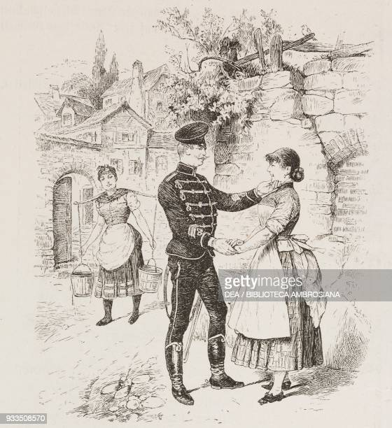 following the death of his father the girl decides to display her mourning by dating a hussar in a black uniform illustration from Fliegende Blaetter...
