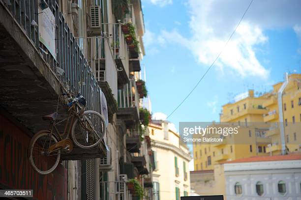 In Naples you can sometimes find a bike parked so. Near SpaccaNapoli