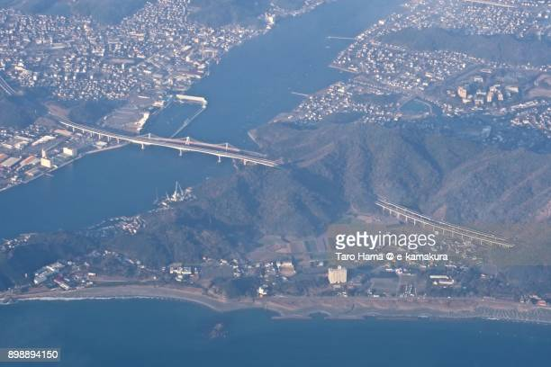 KOBE-AWAJI-NARUTO EXPWY in Naruto city in Tokushima prefecture in Japan daytime aerial view from airplane