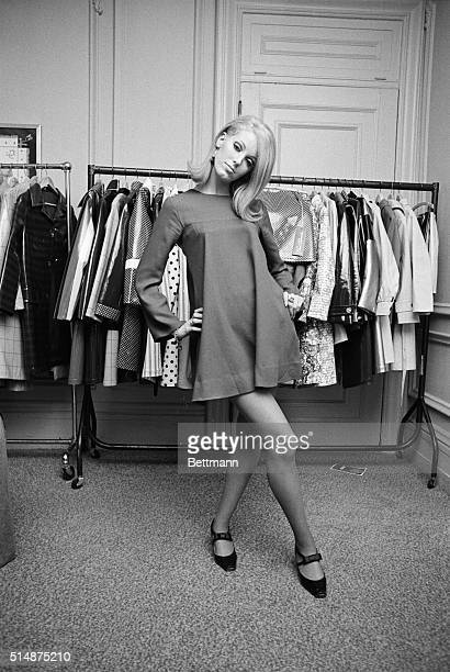 In New York British Lorna McDonough models the latest minidress from swinging London in 1966