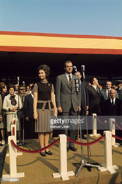 In November 1971 Princess Sophia and Prince Juan Carlos of Spain visit the city of Burgos in Castile and Leon Here side by side on a small stage