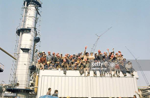 In November 1971 Princess Sophia and Prince Juan Carlos of Spain visit the city of Burgos in Castile and LeonIci applauded by workmen perched on the...