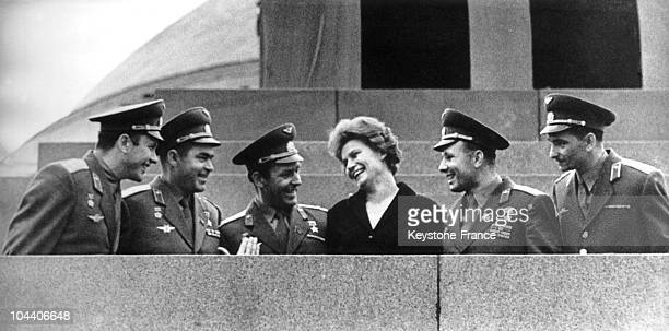 In October 1963 in Moscow on the platform of LENIN's mausoleum the Russian cosmonaut Valentina TERESHKOVA was pictured standing with Russian officers...