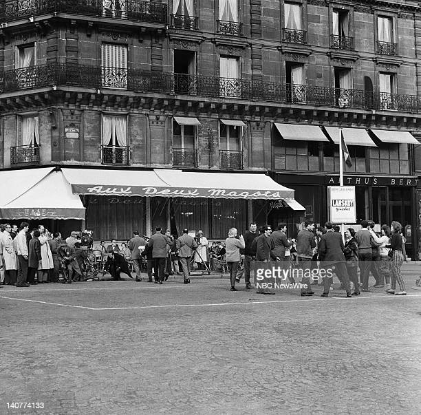 TODAY 'TODAY in Paris 1959' Pictured Crowds outside of Les Deux Magots cafe in SaintGermaindesPrés Paris France from April 27 May 1 1959 Photo by...