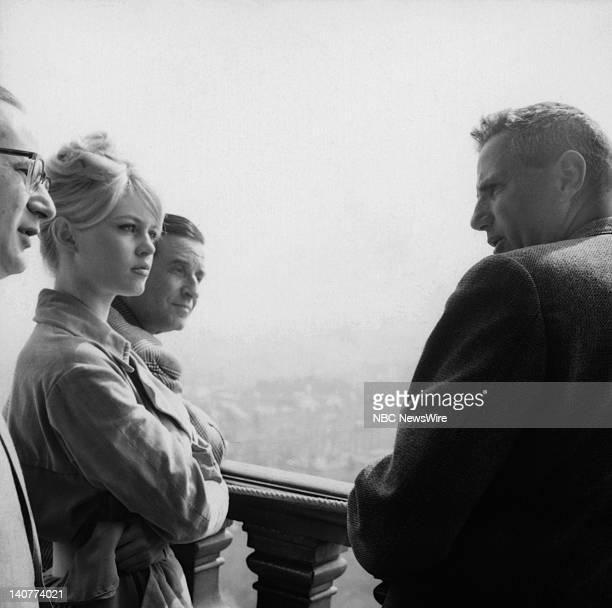 TODAY TODAY in Paris 1959 Pictured French actress Brigitte Bardot director ChristianJaque unknown at the Eiffel Tower in Paris France from April 27...