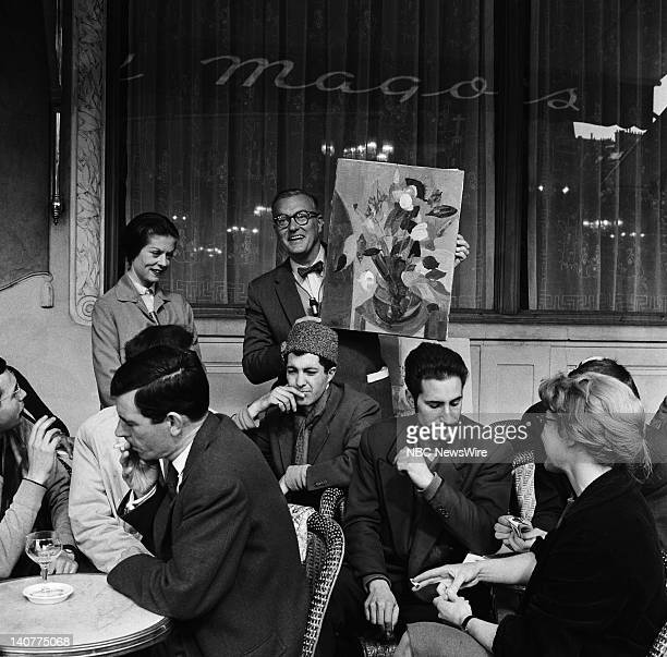 TODAY 'TODAY in Paris 1959' Pictured 'Girl of the Day' Pamela Garroway NBC News' Dave Garroway with French art students at Les Deux Magots cafe in...