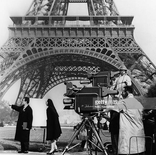 "In Paris 1959"" -- Pictured: NBC camera crew film a segment in front of the Eiffel Tower for TODAY in Paris, France from April 27 - May 1, 1959 --..."