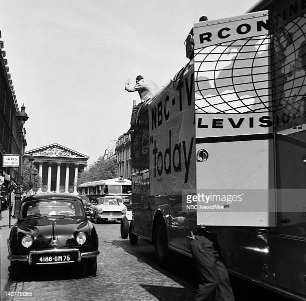 TODAY 'TODAY in Paris 1959' Pictured NBC Mobile Unit filming NBC News' Dave Garroway with the L'église de la Madeleine church in the background...
