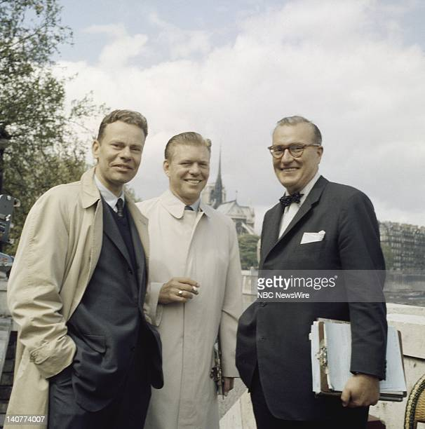TODAY TODAY in Paris 1959 Pictured NBC News' Charles Van Doren Jack Lescoulie Dave Garroway in front of Notre Dame Cathedral in Paris from April 27...
