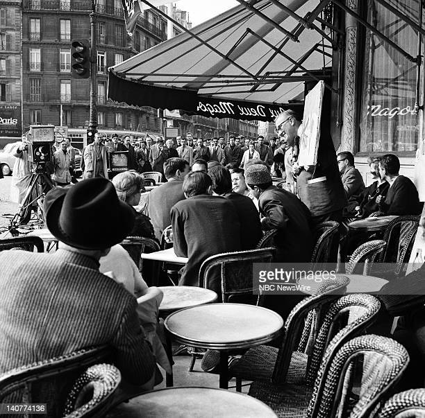 TODAY 'TODAY in Paris 1959' Pictured NBC News' Dave Garroway at Les Deux Magots cafe in SaintGermaindesPrés Paris France from April 27 May 1 1959...