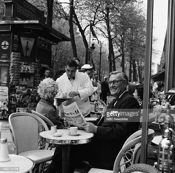 TODAY 'TODAY in Paris 1959' Pictured NBC News' Dave Garroway sitting at a Paris cafe in Paris France from April 27 May 1 1959 Photo by NBC/NBC...