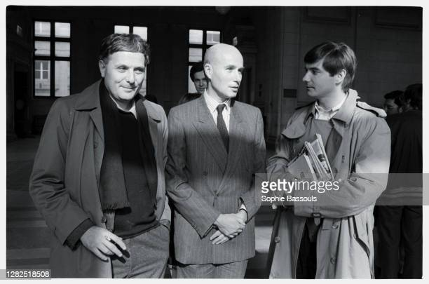 In Paris courthouse for his lawsuit against J.C. Krief, with writer Philippe Sollers.