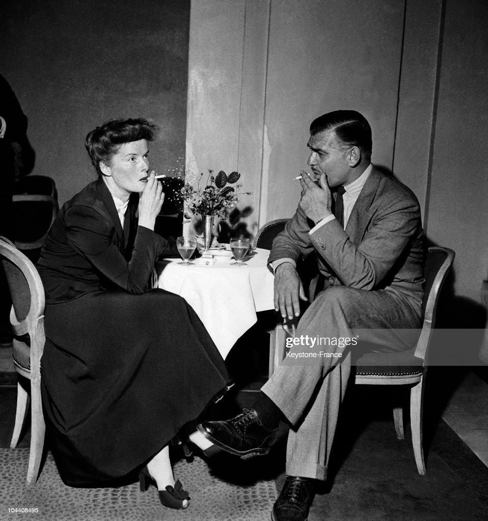 Katharine Hepburn And Clark Gable In Paris 1948 : News Photo