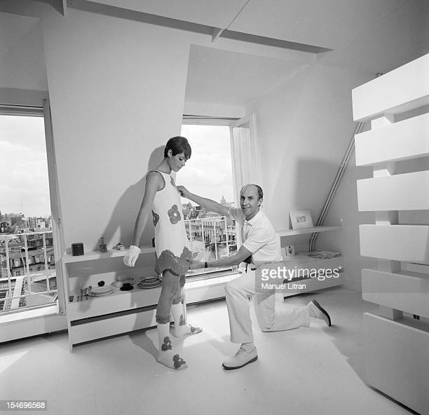 In Paris in August 1967 Andre COURREGES preparing the parade of his creations called 'stitchfuture' inspired by kinetic art in his secret laboratory...