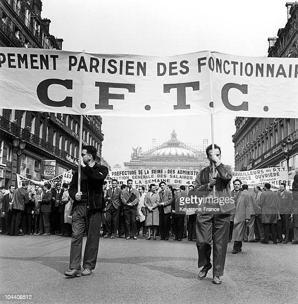 In Paris on April 19 30000 civil servants protest in front of Paris' Opera Garnier Throughout the events of 1960 the tragic protests at Charonne and...