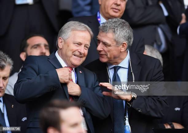 FUSSBALL EURO 2016 GRUPPE F in Paris Portugal Oesterreich Praesident Dr Leo Windtner und UEFA Interimspraesident Angel Maria Villar llona