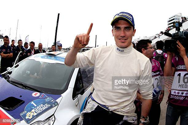 BREEN in PEUGEOT 208 T16 of PEUGEOT RALLY ACADEMY celebrating the first place of rally during the podium ceremony FIA ERC Sata Rallye A��ores 2015 at...