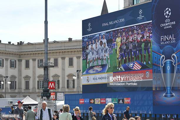 In Piazza del Duomo of Milan an installation for the UEFA Champions League Final between Real Madrid and Atltico Madrid which will be held on...