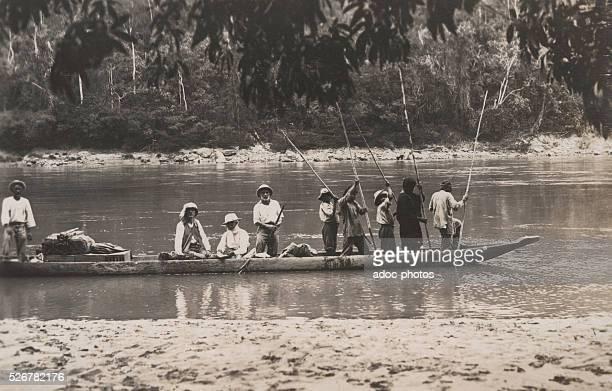 In pirogue on the Rio Pachitea Ca 1925