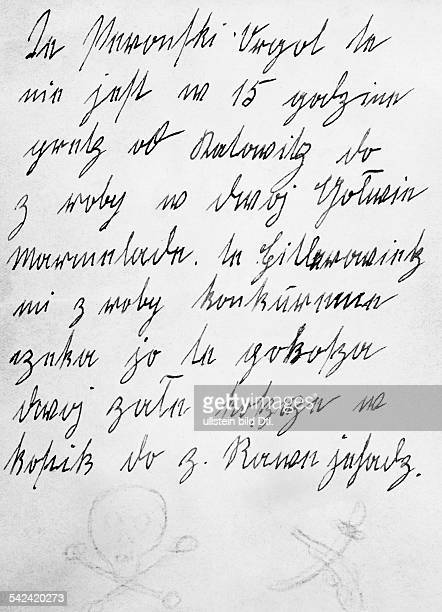In polnischer Sprache verfassterDrohbrief an einen deutschenTischlermeister in Kattowitz, der dieangebliche Verfolgung der Deutschen durchPolen...