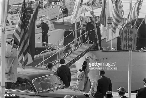 In port, they are met by a throng of well wishing onlookers on April 19, 1956 in Monaco. The newlyweds set sail for a honeymoon cruise around the...