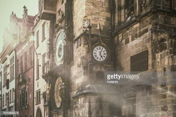 In Prague's Old Town Square, the beautiful astronomical clock, called Pražský orloj in Czech, installed in 1410 on the Southern wall of the Old Town Hall.