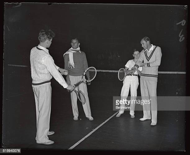 In preparation for his forthcoming match with Ellsworth Vines former amateur champion and now a professional Bill Tilden famous net star is working...