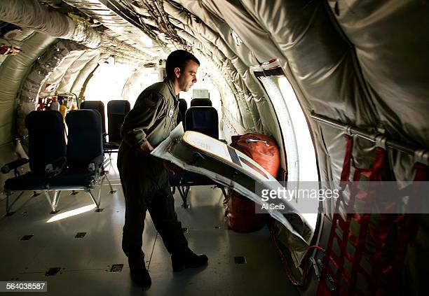 BASE CA In preparation for take off Staff Sargeant Cy Eckhardt a seven year veteran Boom Operator of an aerial refueling tanker plane the C–135 is...