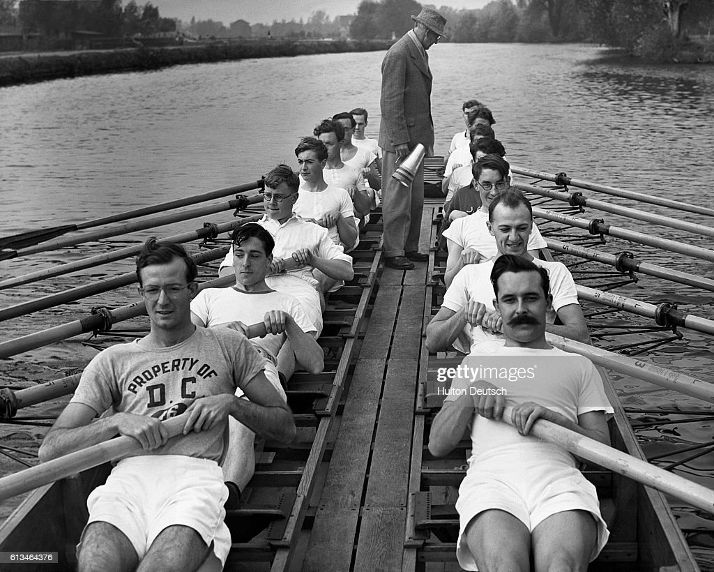 In preparation for the Boat Race against Cambridge, Oxford University rowing crews undergo a Leviathan style training on the Isis on October 22, 1952.
