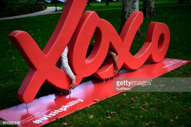 In preparation for the Parkway100 centennial celebration Jorden Parenti with Visit Philly helped by Brian Ashby instal a xoxo sculpture alongside the...