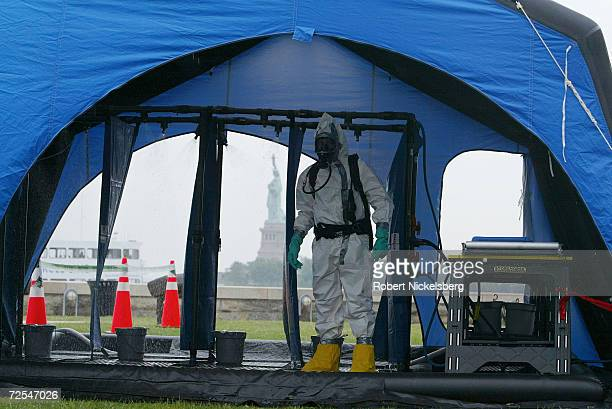 In preparation for the reopening of the Statue of Liberty at the end of July a private New jersey hospital employee demonstrates a chemical...