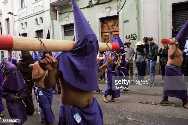 In Quito is celebrated the 56th edition of the procession of the Jesus of the Great Power in it hundreds of penitents participate the procession...