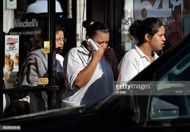 In Rampart. People are released from a Winchell's Donuts shop at the intersection of 7th Street and Hoover in the Westlake/Koreatown areanear the...