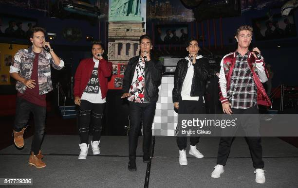 'In Real Life' the grand prize winner of ABC's 'Boy Band' perform their Hollywood Records single 'Eyes Closed' at Planet Hollywood Times Square on...