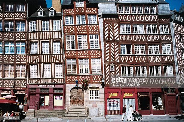 In Rennes Bretagne France in November 2004 Old city of Rennes The ChampJacquet Square with its tall houses built of granite white stone and wood...