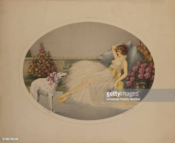 In Repose Reclining Woman with Borzoi Dog by Corcelles Printed by Morris Bendien NY 1920's