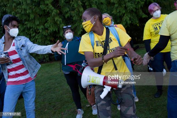 In response to a right wing gathering of Proud Boys, Black Lives Matter activists hold their own rally on September 26, 2020 in in Portland,...