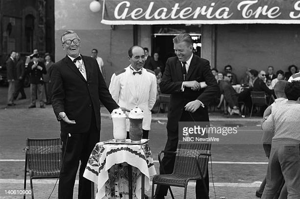 TODAY 'TODAY in Rome 1960' Pictured NBC News' Dave Garroway Jack Lescoulie in front of Tre Scalini restaurant in the Piazza Navona in Rome Italy from...