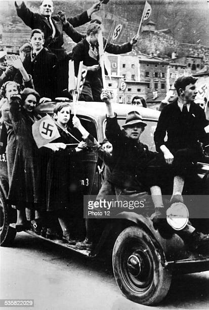 In Salzburg the Austrian population cheering after the Anschluss March 15 1938
