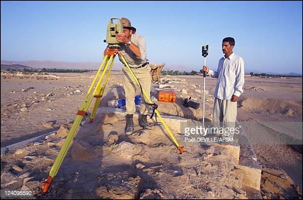 In search of the Queen of Sheba in Marib Yemen in May 2001 Sidney Rempel a contract archaeologist and the surveyor for the 2001 field season sets up...