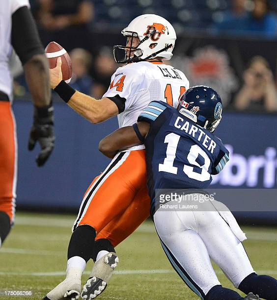 TORONTO ON JULY 30 In second half action BC QB Travis Lulay gets sacked by Jalil Carter setting up a fumble recovery and TD by the Argos The Toronto...
