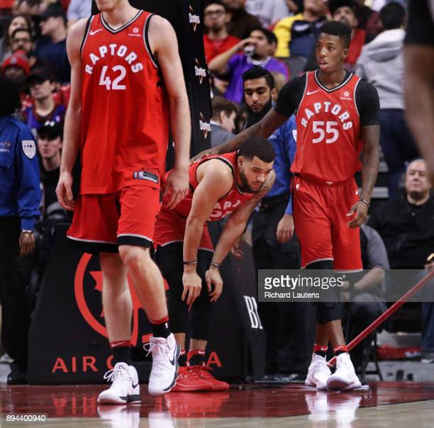 TORONTO ON DECEMBER 17 In second half action Toronto Raptors guard Delon Wright helped up Fred VanVleet who had hit the ground hard The Toronto...